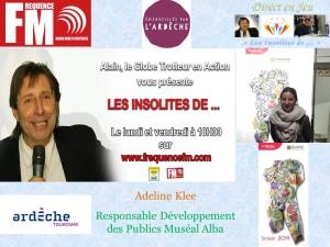 Affichette Les Insolites Adeline Klee, Muséal Alba