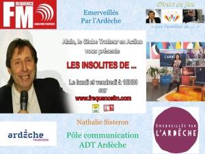 Affichette Les Insolites Nathalie Sisteron, Adt Ardèche
