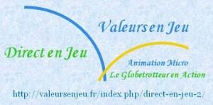Logo historique Vej Dej bleu vert 19 fond bleu
